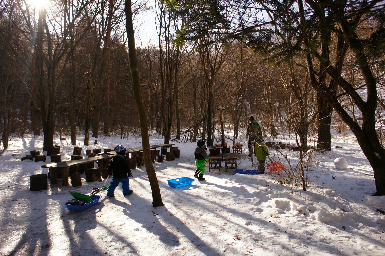 そりあそび、ままごとあそび、おうちづくりなど、森の中で多様な遊びがはじまる。